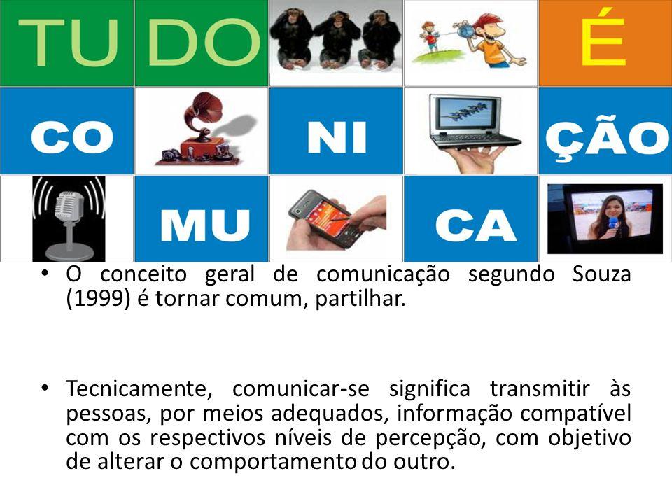 O conceito geral de comunicação segundo Souza (1999) é tornar comum, partilhar.