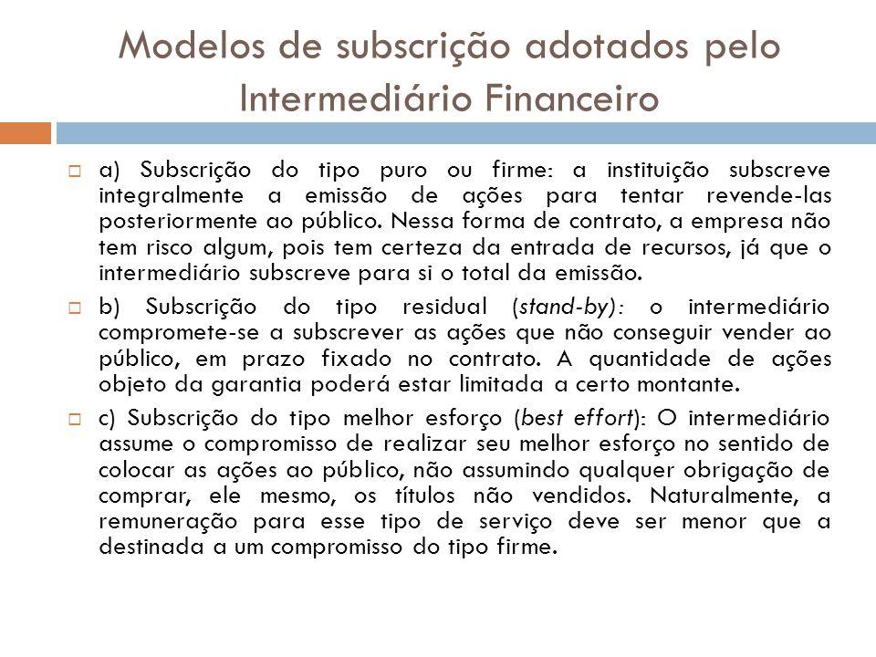 Modelos de subscrição adotados pelo Intermediário Financeiro