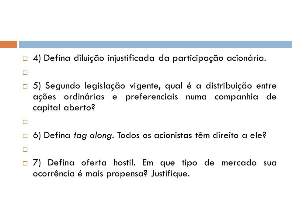 4) Defina diluição injustificada da participação acionária.