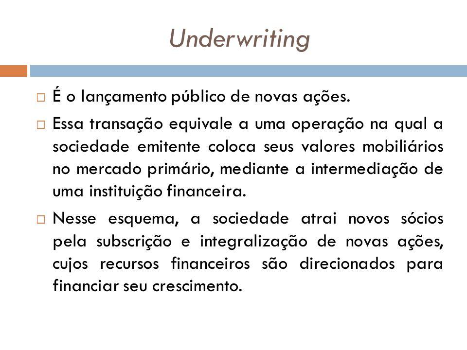 Underwriting É o lançamento público de novas ações.