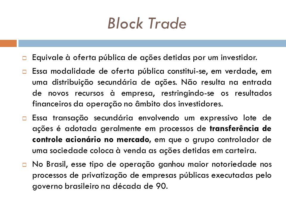 Block Trade Equivale à oferta pública de ações detidas por um investidor.
