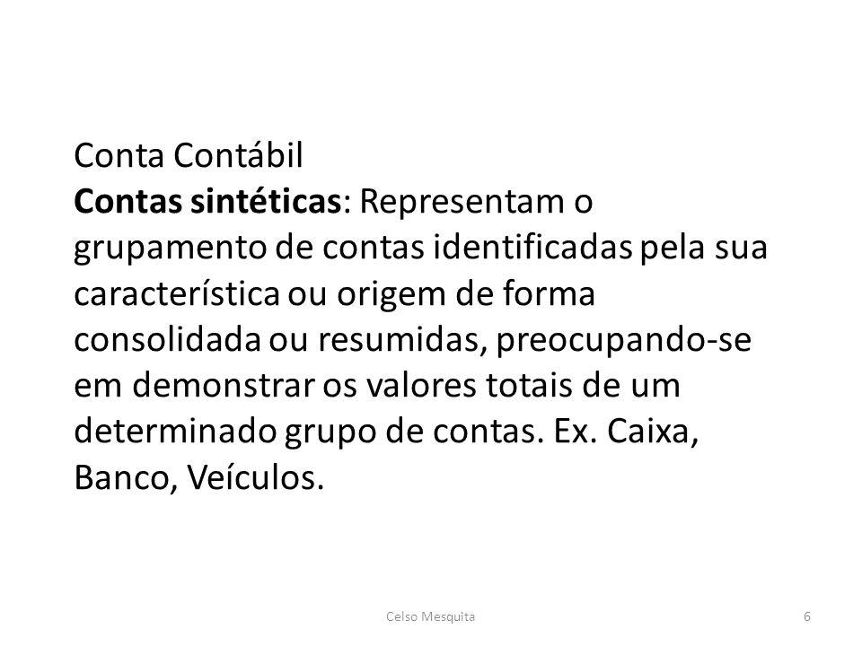 Conta Contábil Contas sintéticas: Representam o grupamento de contas identificadas pela sua característica ou origem de forma consolidada ou resumidas, preocupando-se em demonstrar os valores totais de um determinado grupo de contas. Ex. Caixa, Banco, Veículos.