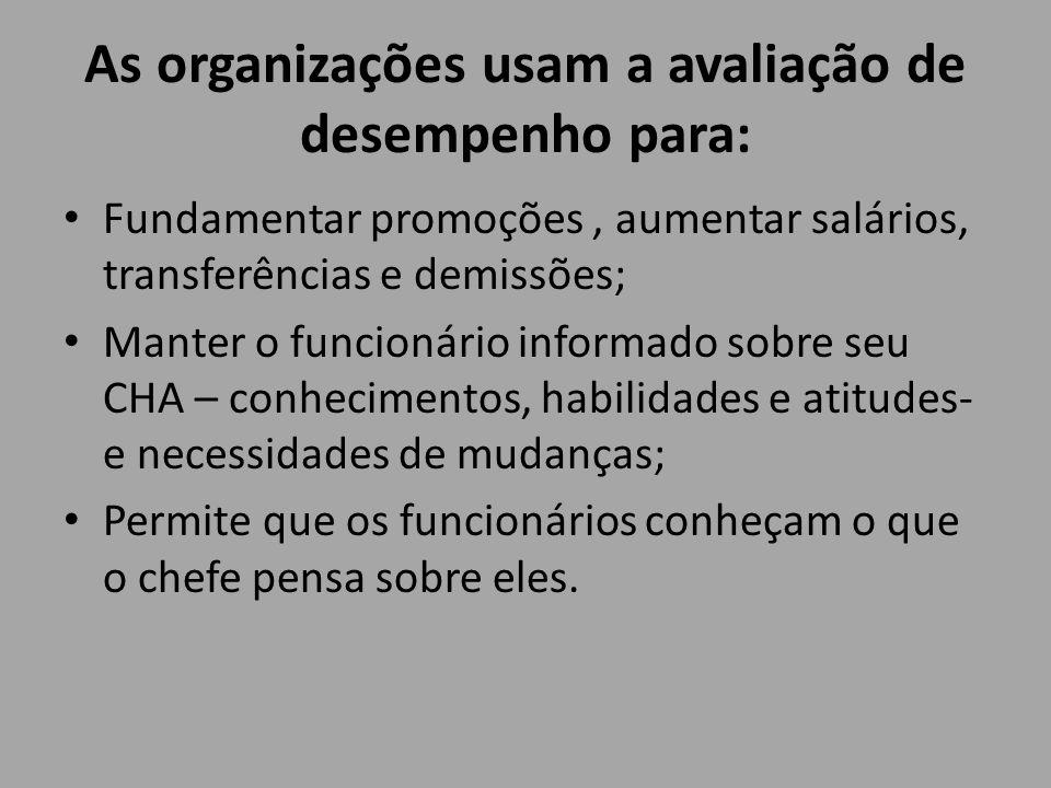 As organizações usam a avaliação de desempenho para: