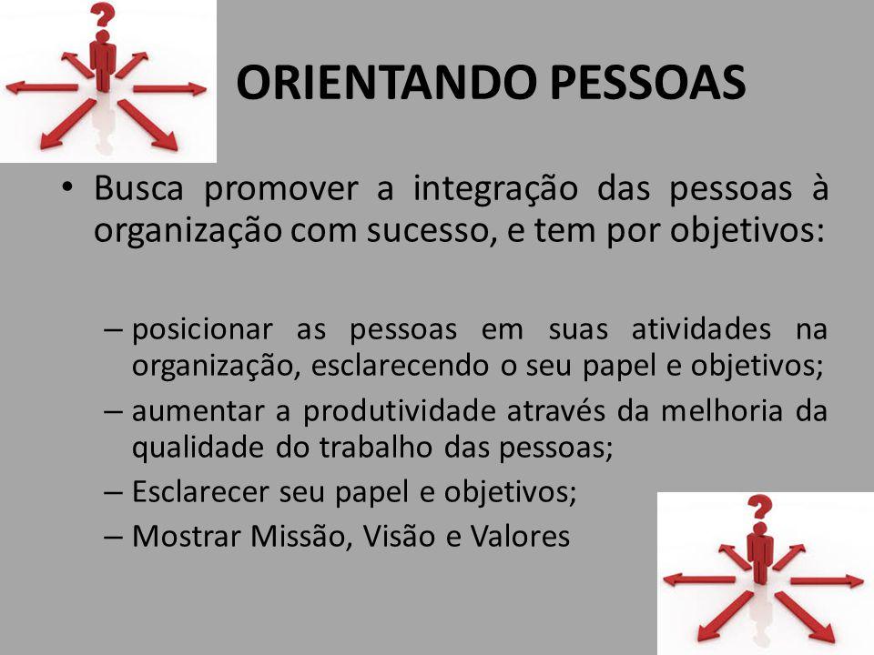 ORIENTANDO PESSOAS Busca promover a integração das pessoas à organização com sucesso, e tem por objetivos: