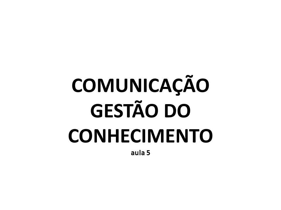 COMUNICAÇÃO GESTÃO DO CONHECIMENTO aula 5