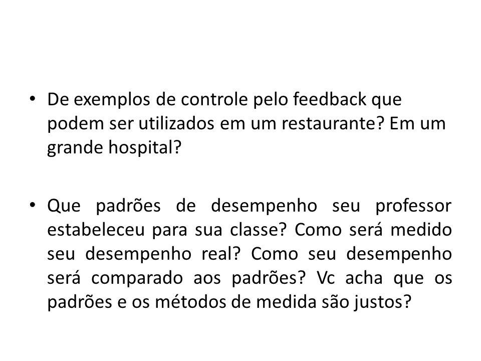 De exemplos de controle pelo feedback que podem ser utilizados em um restaurante Em um grande hospital
