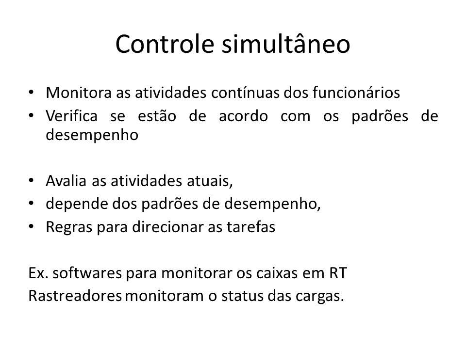 Controle simultâneo Monitora as atividades contínuas dos funcionários