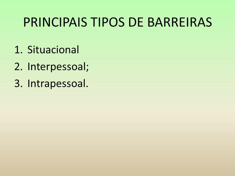 PRINCIPAIS TIPOS DE BARREIRAS