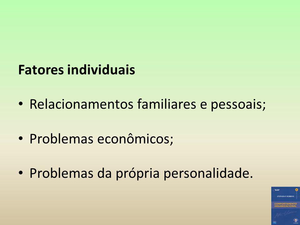 Fatores individuais Relacionamentos familiares e pessoais; Problemas econômicos; Problemas da própria personalidade.