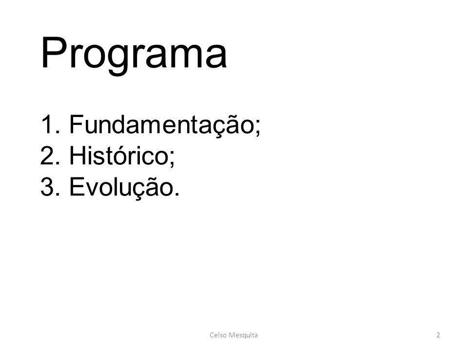 Programa 1. Fundamentação; 2. Histórico; 3. Evolução.