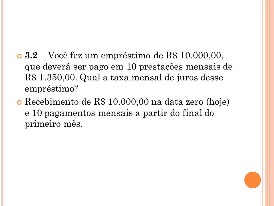 3. 2 – Você fez um empréstimo de R$ 10