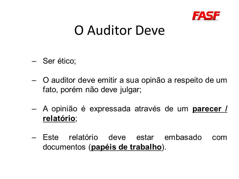 O Auditor Deve Ser ético;