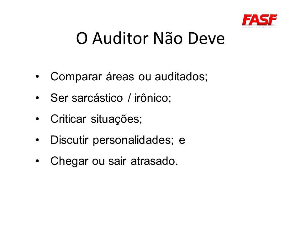 O Auditor Não Deve Comparar áreas ou auditados;