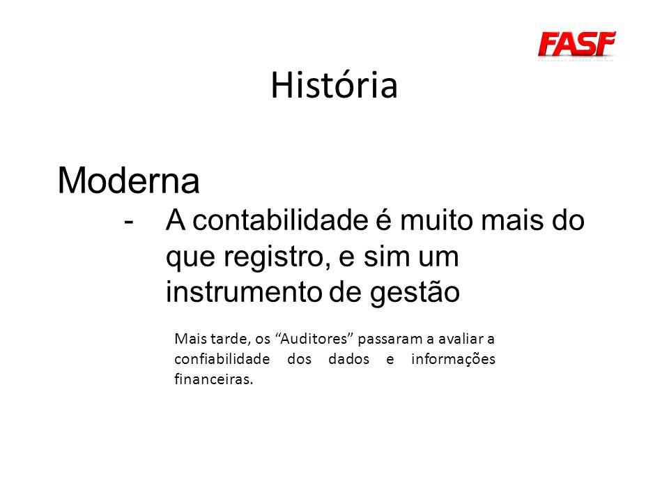 História Moderna. A contabilidade é muito mais do que registro, e sim um instrumento de gestão.