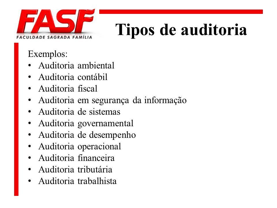 Tipos de auditoria Exemplos: Auditoria ambiental Auditoria contábil