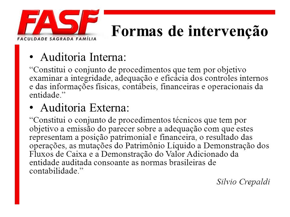 Formas de intervenção Auditoria Interna: Auditoria Externa: