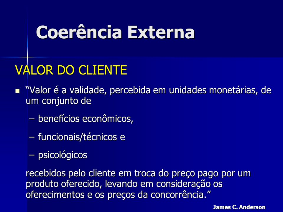 Coerência Externa VALOR DO CLIENTE