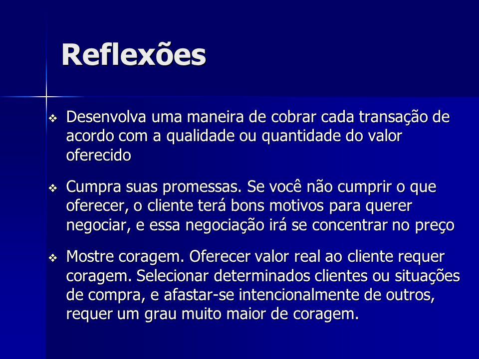 Reflexões Desenvolva uma maneira de cobrar cada transação de acordo com a qualidade ou quantidade do valor oferecido.