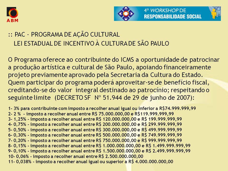 :: PAC - PROGRAMA DE AÇÃO CULTURAL