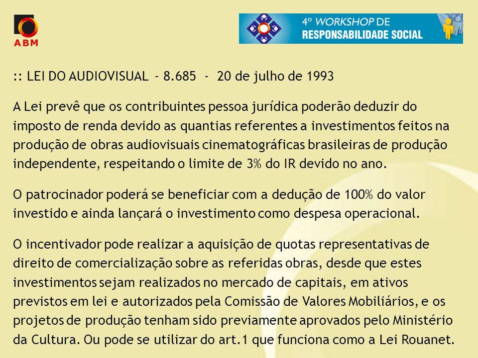 :: LEI DO AUDIOVISUAL - 8.685 - 20 de julho de 1993