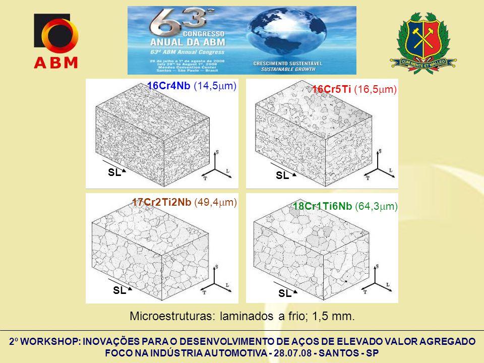 Microestruturas: laminados a frio; 1,5 mm.
