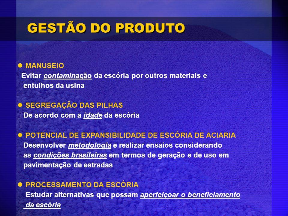 GESTÃO DO PRODUTO MANUSEIO Evitar contaminação da escória por outros materiais e entulhos da usina.