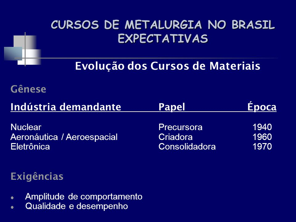 CURSOS DE METALURGIA NO BRASIL EXPECTATIVAS