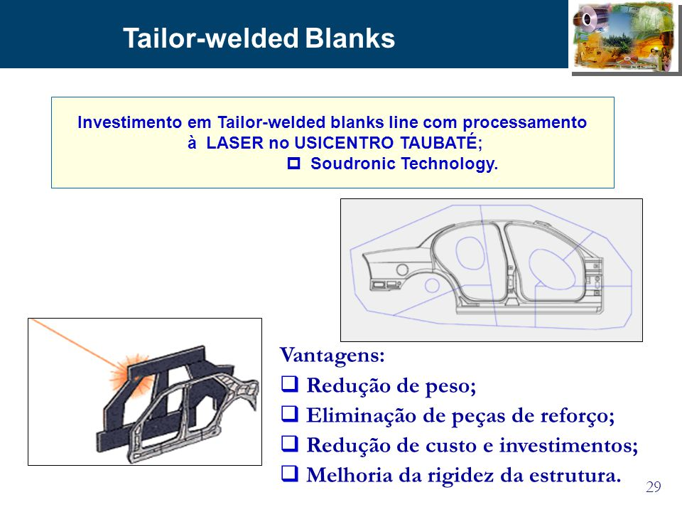 Tailor-welded Blanks Vantagens: Redução de peso;