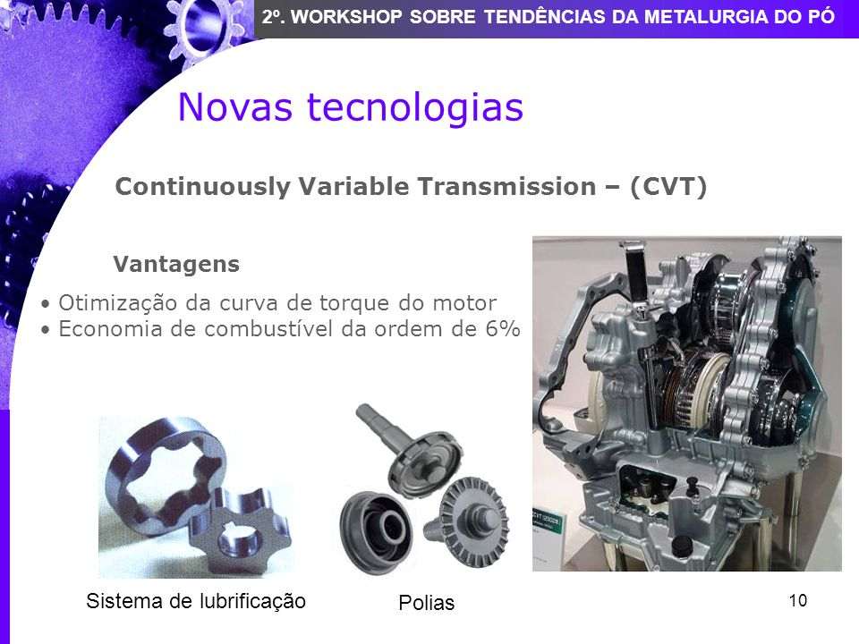 Novas tecnologias Continuously Variable Transmission – (CVT) Vantagens