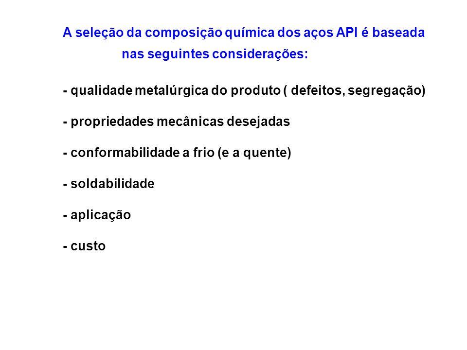 A seleção da composição química dos aços API é baseada
