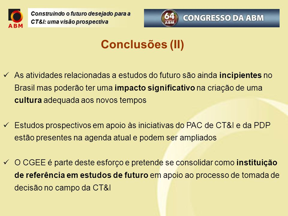 Conclusões (II)