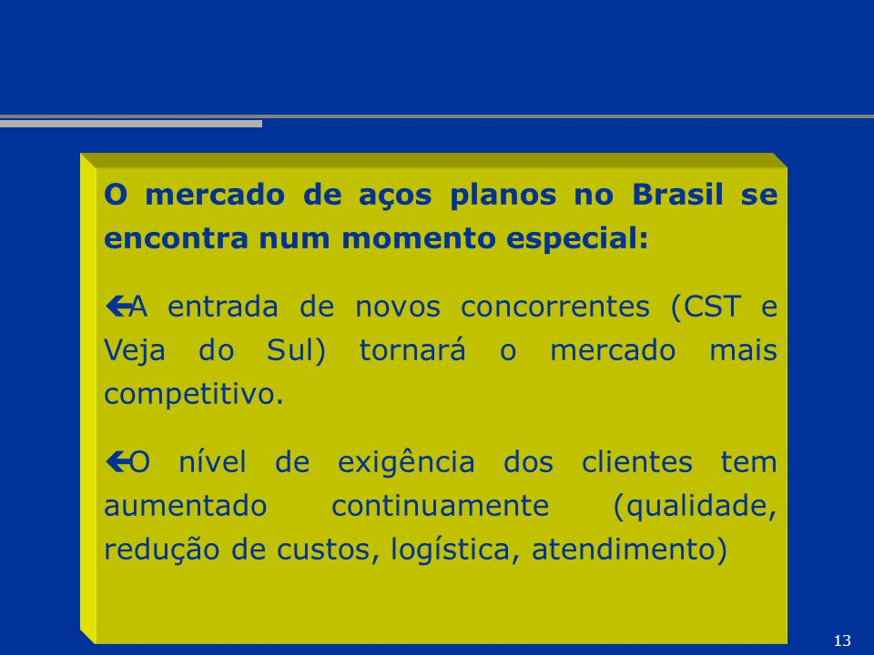 O mercado de aços planos no Brasil se encontra num momento especial: