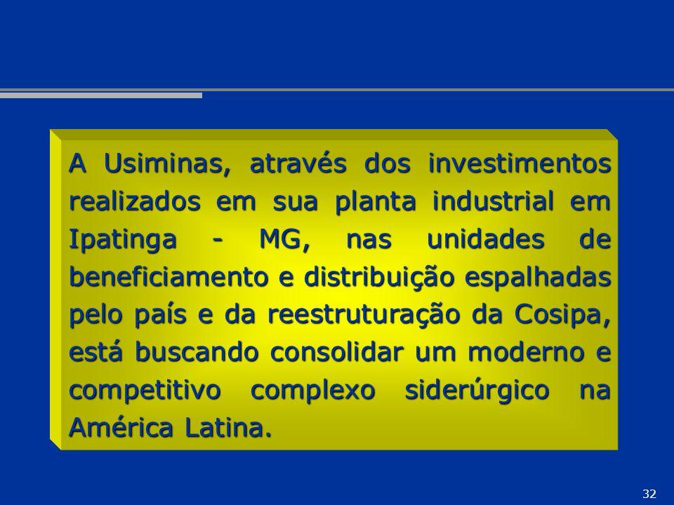 A Usiminas, através dos investimentos realizados em sua planta industrial em Ipatinga - MG, nas unidades de beneficiamento e distribuição espalhadas pelo país e da reestruturação da Cosipa, está buscando consolidar um moderno e competitivo complexo siderúrgico na América Latina.