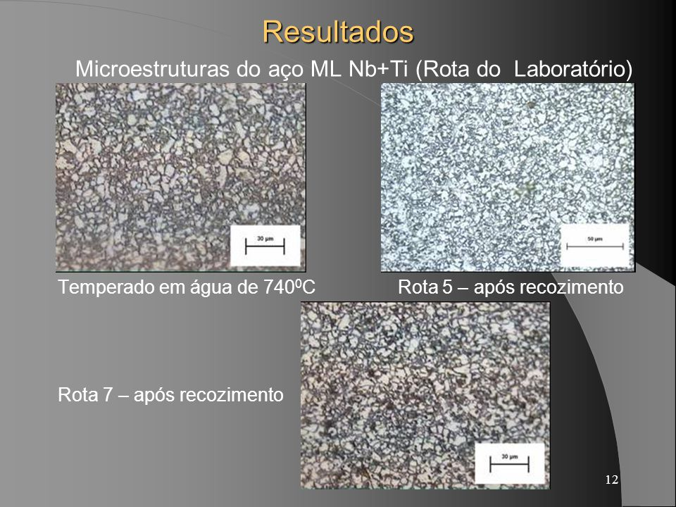 Microestruturas do aço ML Nb+Ti (Rota do Laboratório)