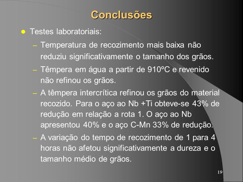 Conclusões Testes laboratoriais: