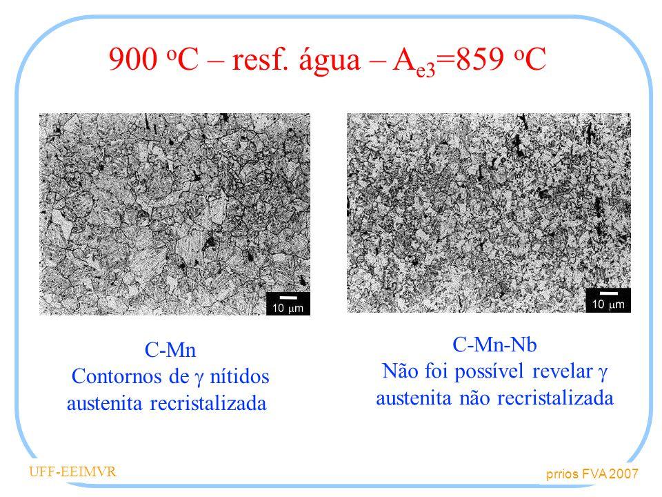 900 oC – resf. água – Ae3=859 oC C-Mn-Nb C-Mn