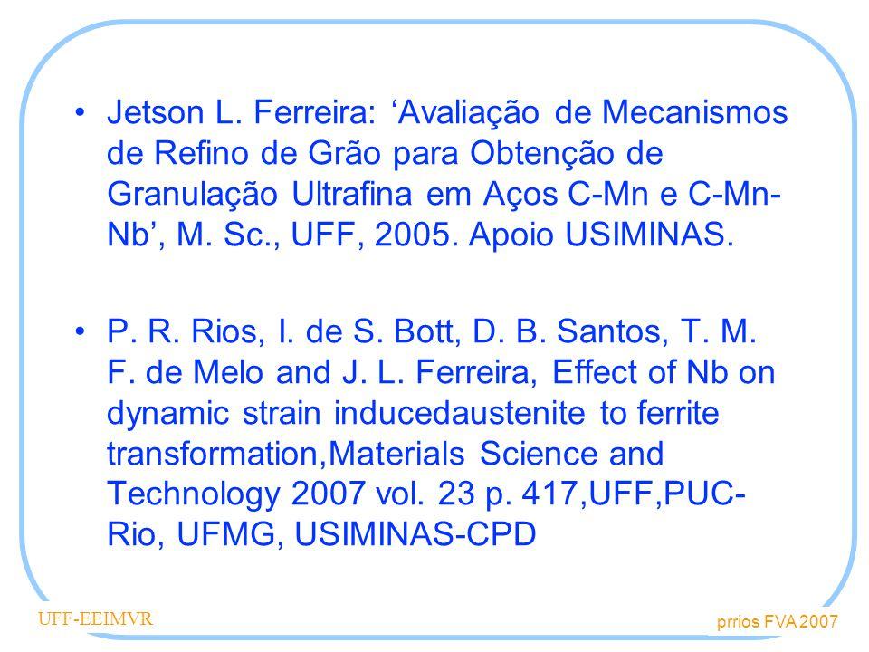 Jetson L. Ferreira: 'Avaliação de Mecanismos de Refino de Grão para Obtenção de Granulação Ultrafina em Aços C-Mn e C-Mn-Nb', M. Sc., UFF, 2005. Apoio USIMINAS.