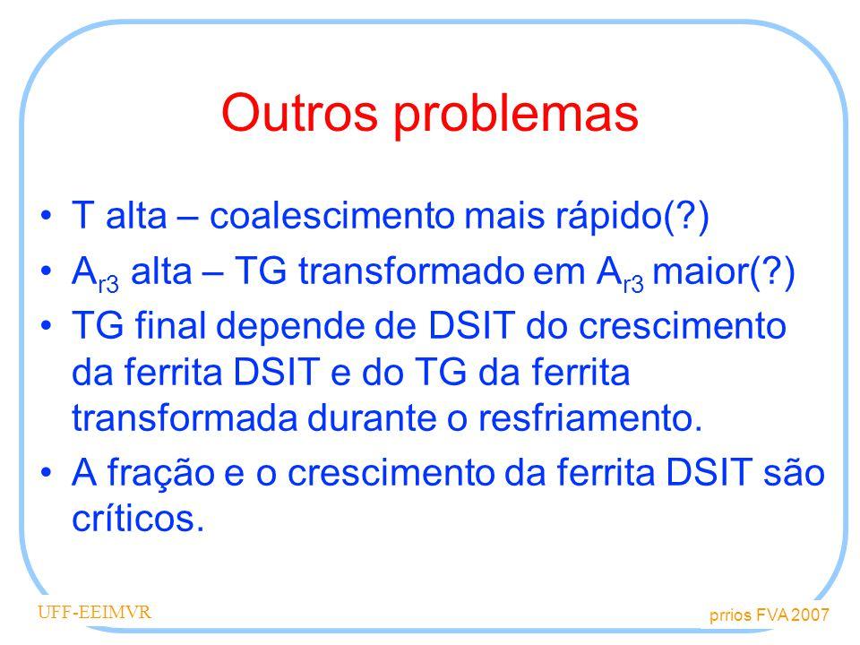 Outros problemas T alta – coalescimento mais rápido( )