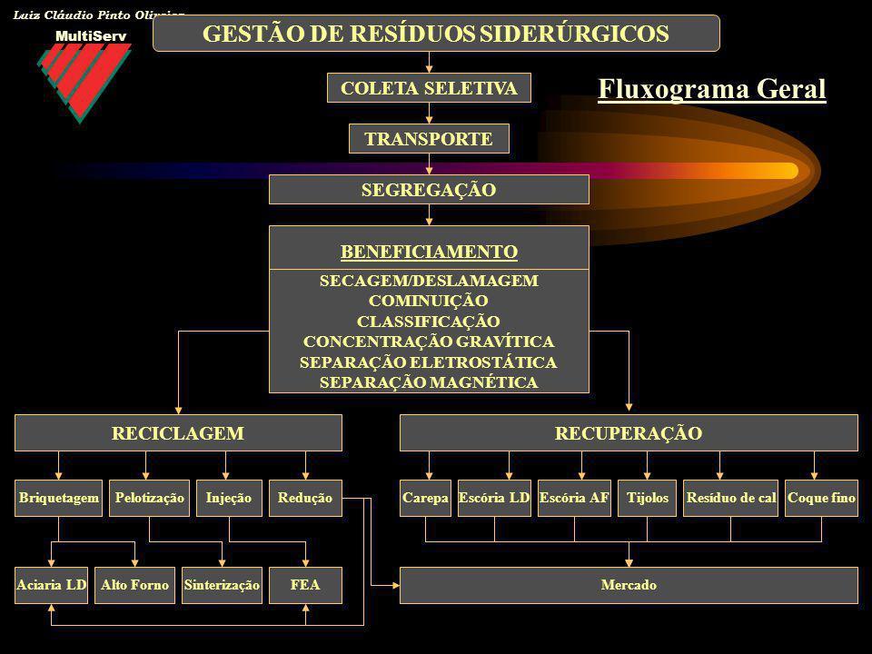 Fluxograma Geral GESTÃO DE RESÍDUOS SIDERÚRGICOS COLETA SELETIVA