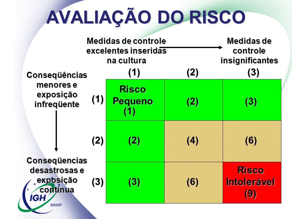AVALIAÇÃO DO RISCO (1) (2) (3) Risco Pequeno (1) (2) (3) (1) (2) (2)