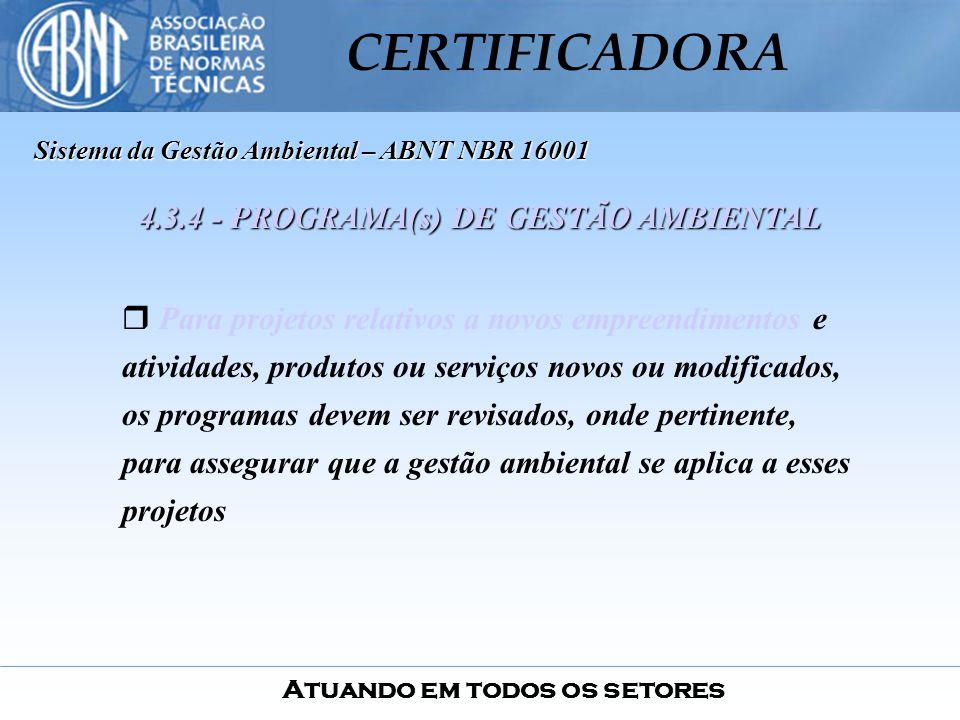 4.3.4 - PROGRAMA(s) DE GESTÃO AMBIENTAL