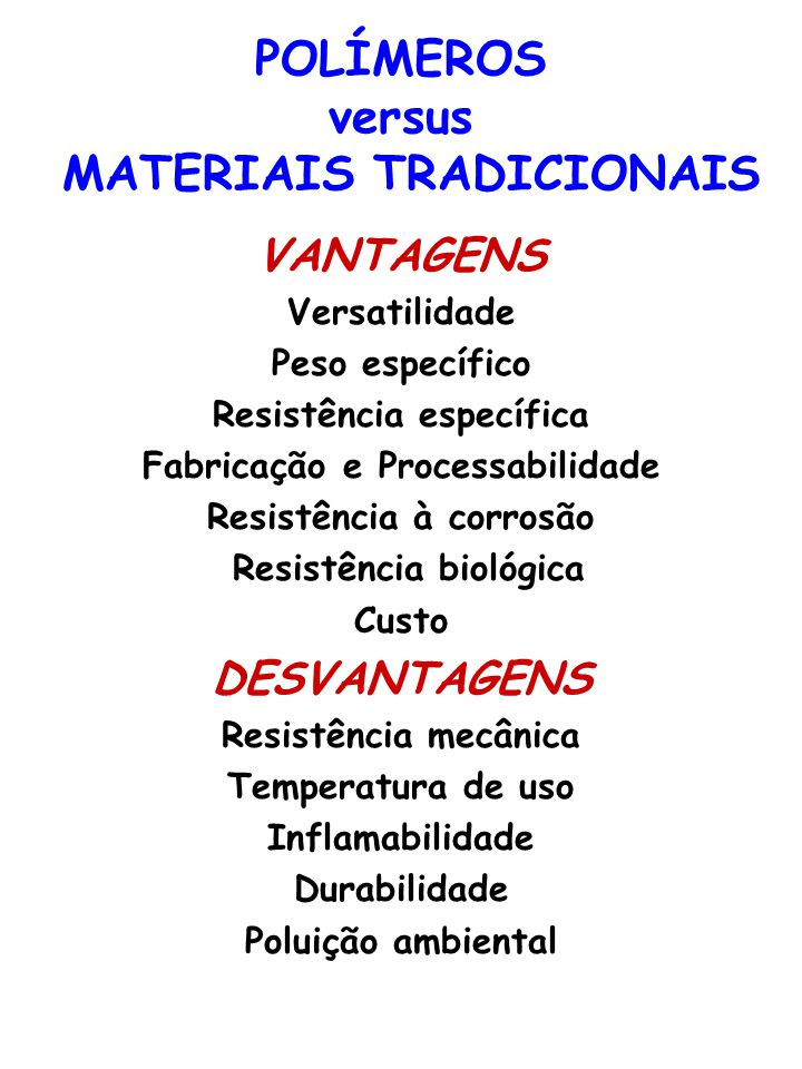 POLÍMEROS versus MATERIAIS TRADICIONAIS