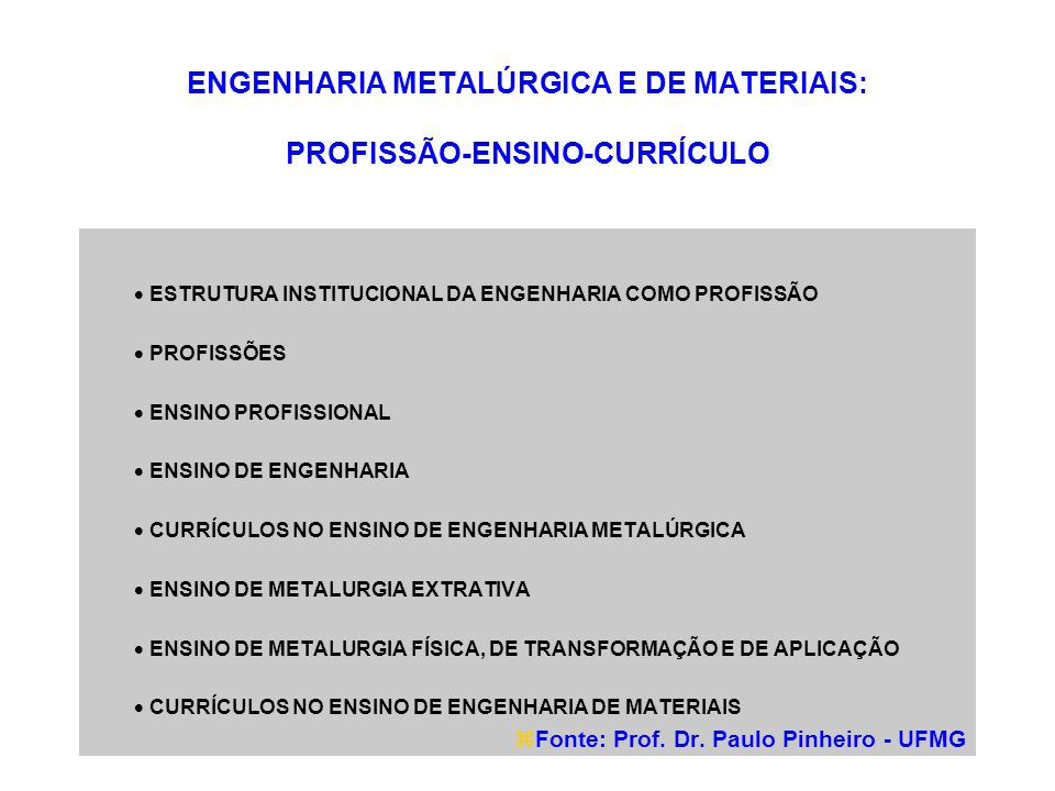 ENGENHARIA METALÚRGICA E DE MATERIAIS: PROFISSÃO-ENSINO-CURRÍCULO