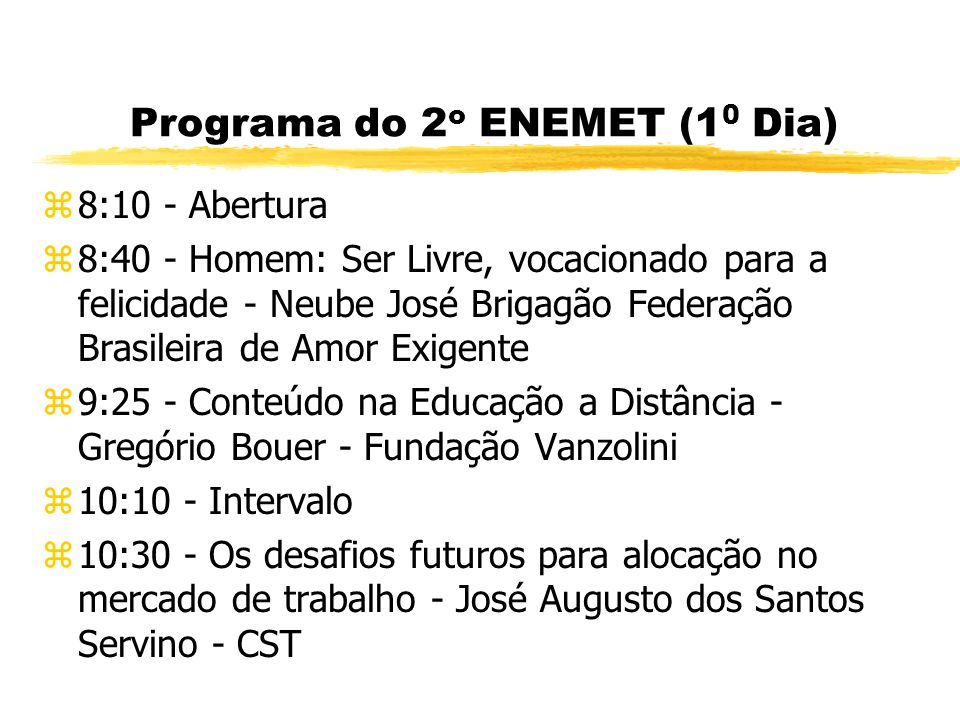 Programa do 2o ENEMET (10 Dia)