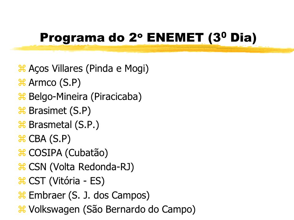 Programa do 2o ENEMET (30 Dia)