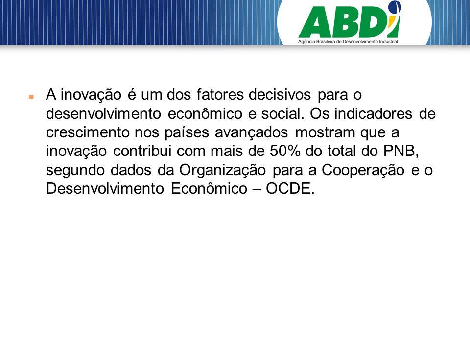 A inovação é um dos fatores decisivos para o desenvolvimento econômico e social.