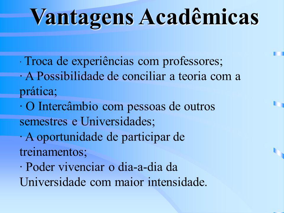Vantagens Acadêmicas · Troca de experiências com professores; · A Possibilidade de conciliar a teoria com a prática;