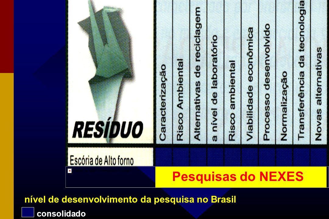 Pesquisas do NEXES nível de desenvolvimento da pesquisa no Brasil