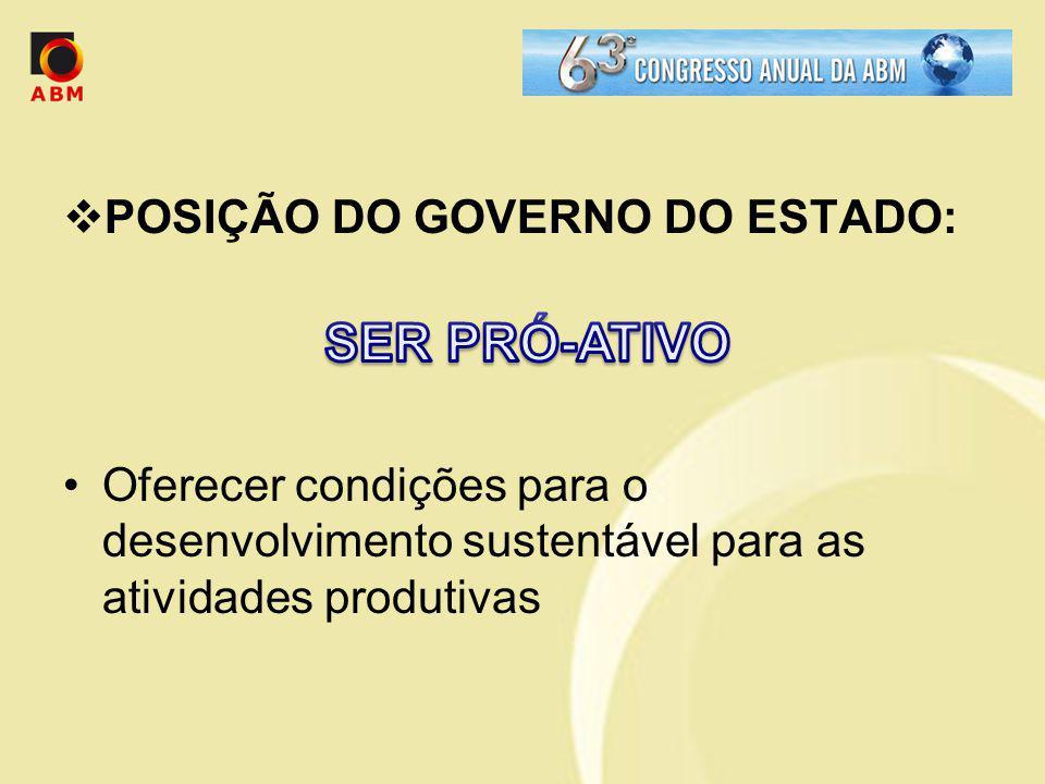 SER PRÓ-ATIVO POSIÇÃO DO GOVERNO DO ESTADO: