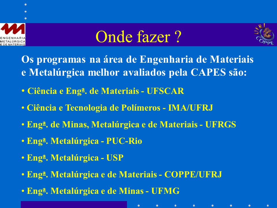 Onde fazer Os programas na área de Engenharia de Materiais e Metalúrgica melhor avaliados pela CAPES são: